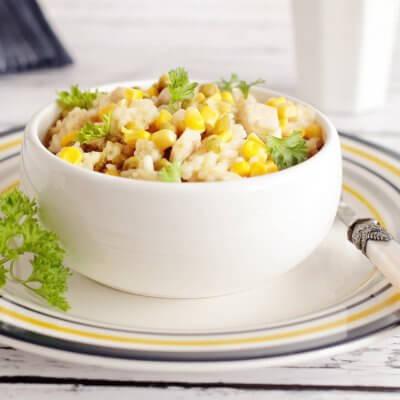 Risotto z kurczakiem, kukurydzą i groszkiem