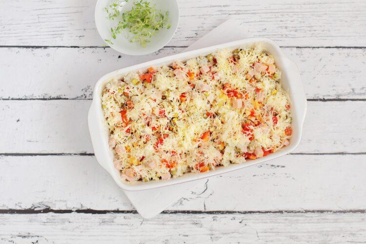 Zapiekanka ryżowa z zielonym groszkiem - Krok 4