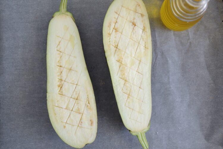 Bakłażany faszerowane kaszą, pomidorami i soczewicą - Krok 1