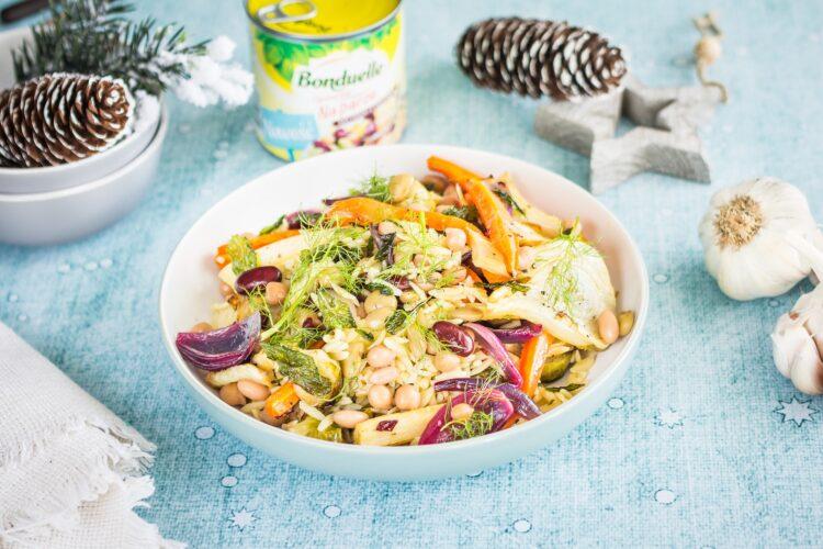 Orzo z pieczonymi zimowymi warzywami