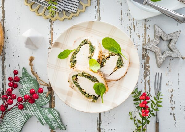 Schab faszerowany szpinakiem i grzybami