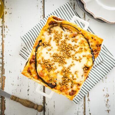 Lasagne z mięsem mielonym, bakłażanem i soczewicą