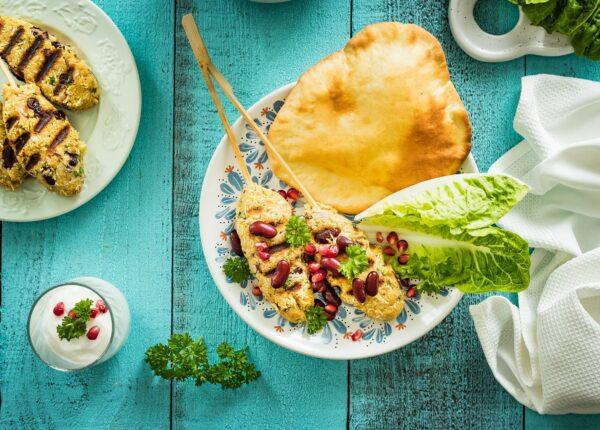 Kebab z selera z czerwoną fasolą