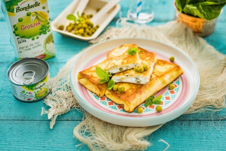Naleśniki z serem, miętą i groszkiem