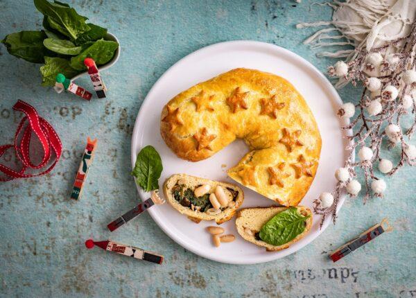 Kulebiak ze szpinakiem, grzybami i fasolą