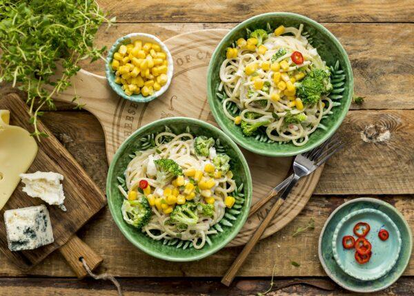 Spaghetti cztery sery z brokułem